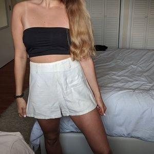 Light Beige Linen High Waisted Shorts